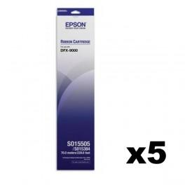 Epson S015505 / S015384 Ribbon x5